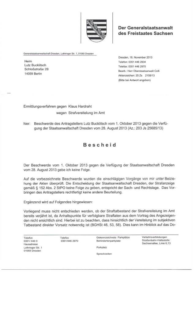 Einstellungsbescheid Generalstaatsanwaltschaft Sachsen0001